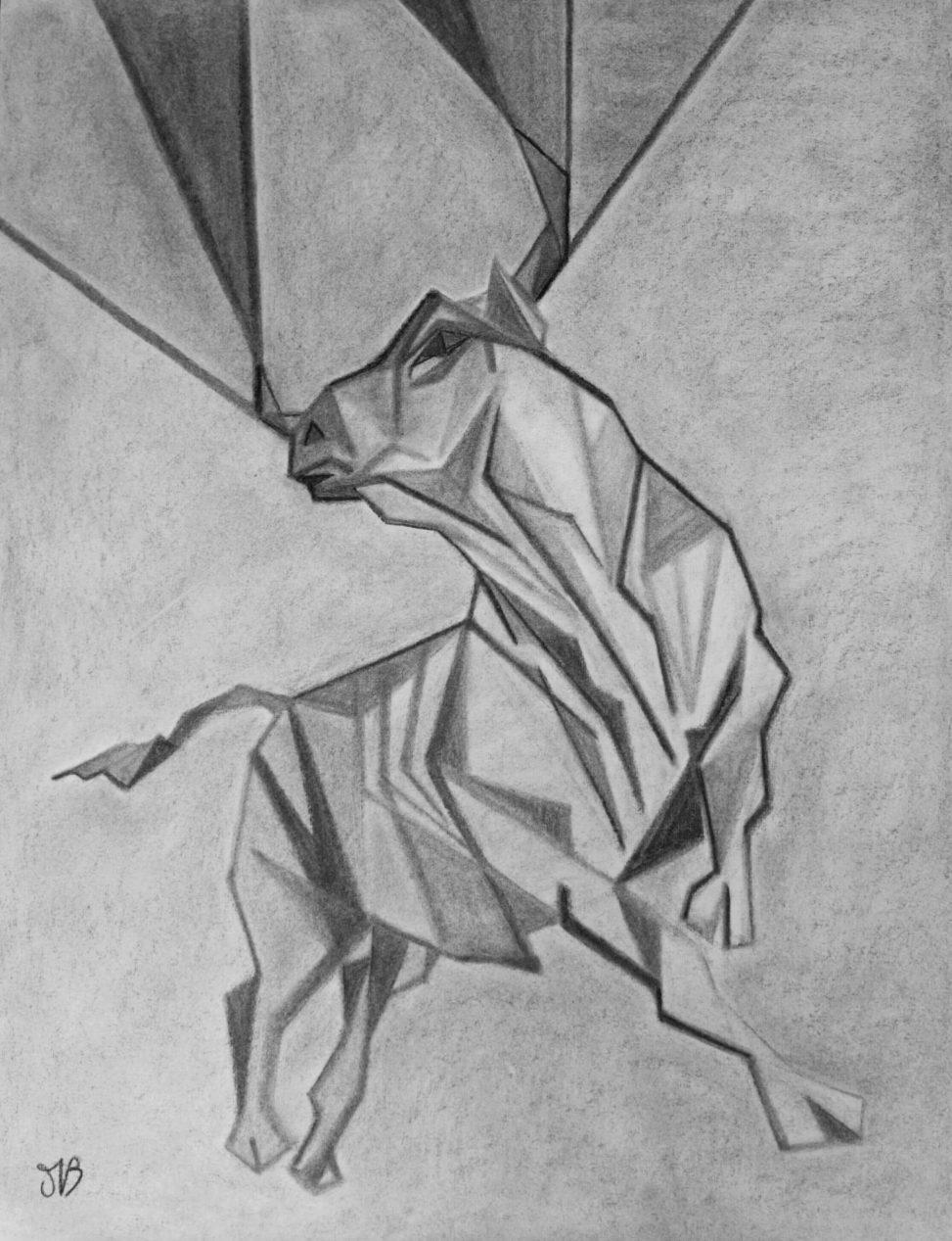 Commande spéciale, dessin de taureau au fusain sur papier Ingres
