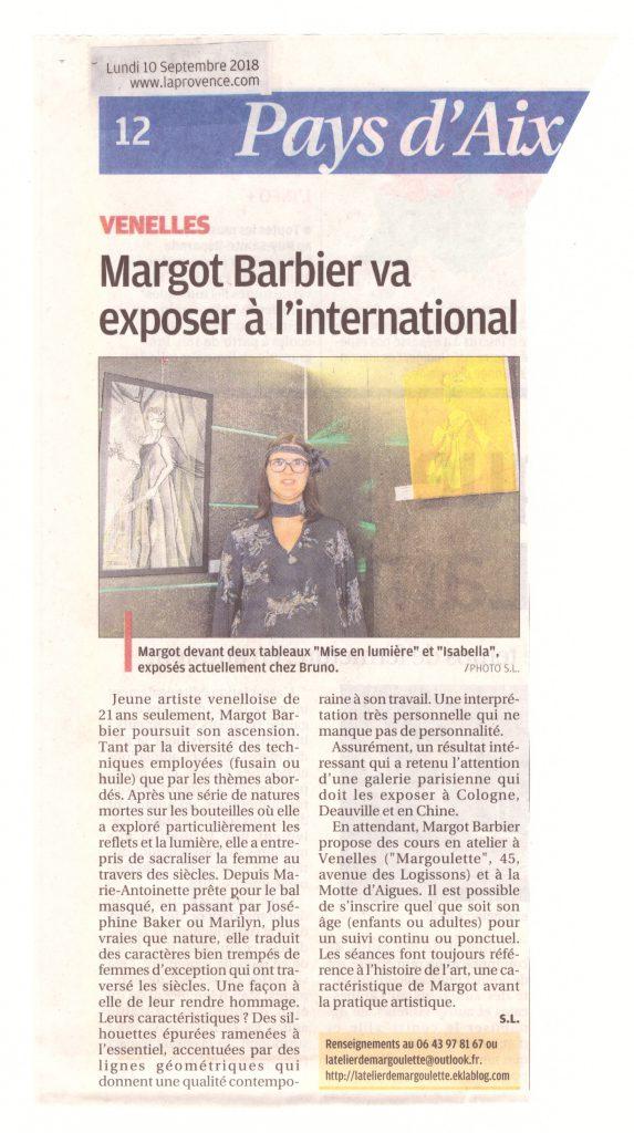 """Article de presse """"Margot Barbier va exposer à l'international"""" dans la Provence le 10 Septembre 2018"""