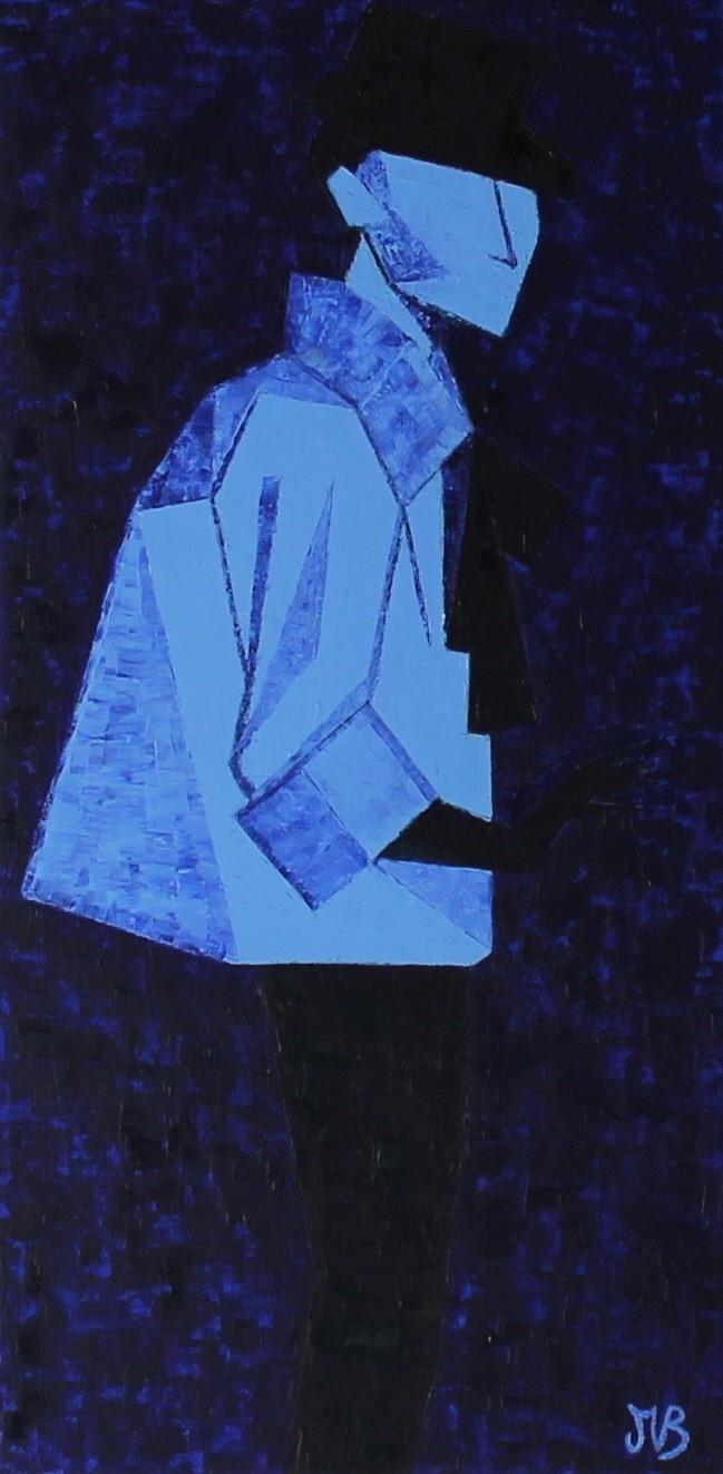 Femme bleue sur fond bleu, huile sur toile