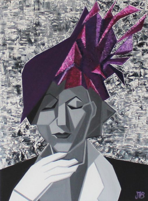 Portrait de femme en noir et blanc à l'huile portant un chapeau violet destructuré