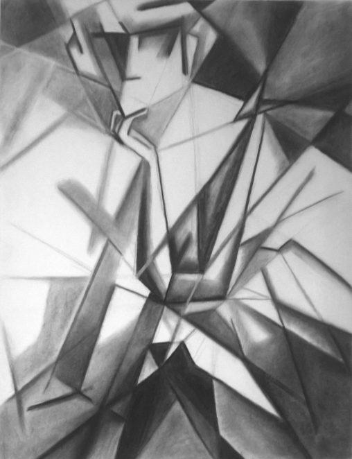 Dessin géométrique au fusain d'une danseuse de cabaret assise tenant sa tête appuyée sur sa main