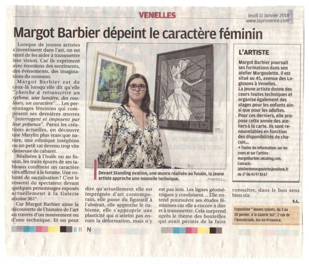 """Article de presse """"Margot Barbier dépeint le caractère féminin"""" dans la Provence le 11 Janvier 2018"""