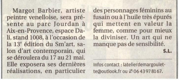 """Article de presse """"Margot Barbier sera présente au SM'ART"""" dans la Provence le 10 Mai 2018"""