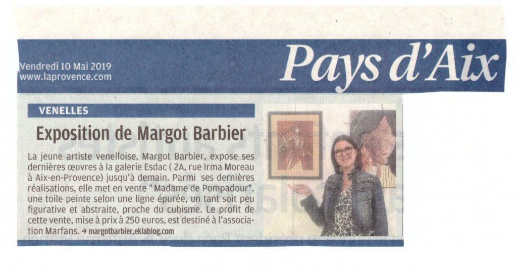 """Article de presse """"Exposition de Margot Barbier"""" dans la Provence le 10 Mai 2019"""