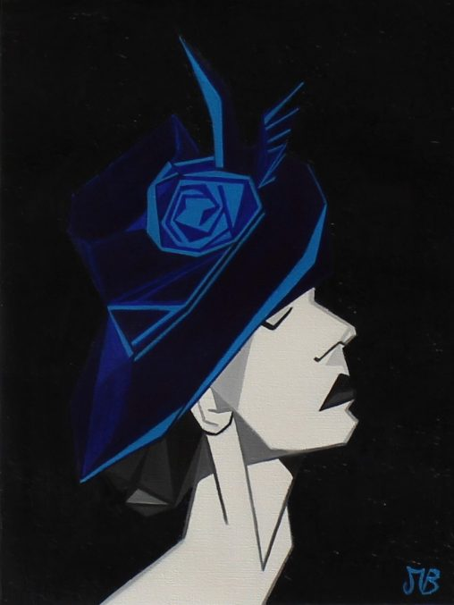 Oil painting, portrait of woman in black and white with blue hat