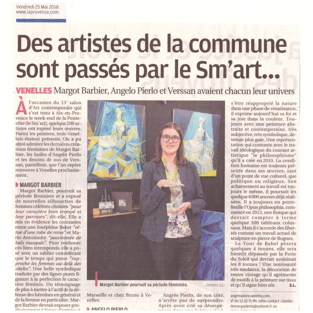 """Article de presse """"Des artistes de la commune (Venelles) sont passés par le SM'ART..."""" dans la Provence le 25 Mai 2018"""