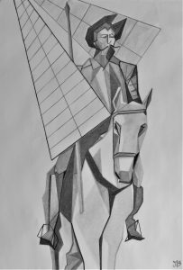 Charcoal drawing of Don Quichotte
