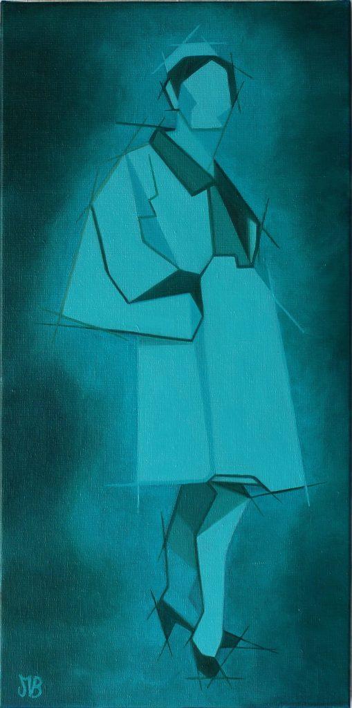 Comme un songe, portrait d'une femme en bleu turquoise