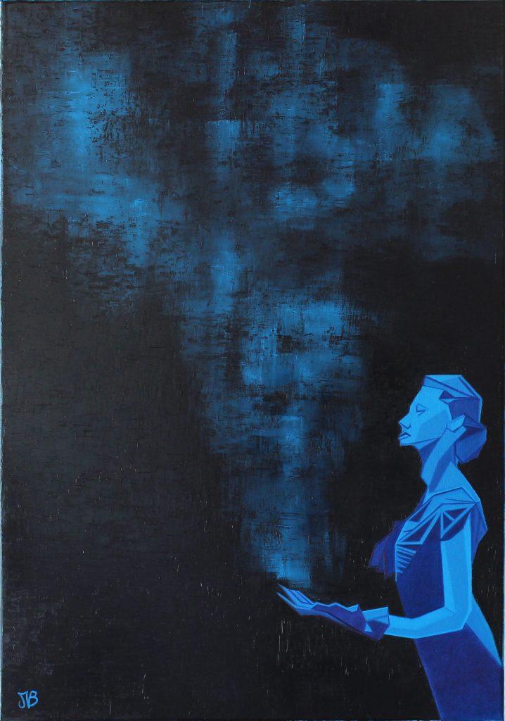 Interaction, portrait d'une femme en bleu
